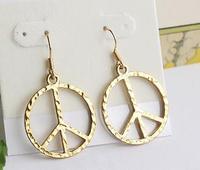金色和平標誌耳環