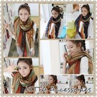 【秋冬女裝】韓國幾何斜紋圖案圍巾 絲巾 披肩
