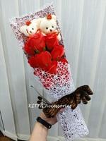 新款11朵香皂玫瑰花啤啤熊仔花束 (紅色) - 生日 畢業 情人節花束