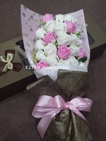 香港情人節花束2018 (粉紅配白, 27朵) Valentine's Day Rose Bouquet