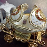 情人節求婚禮物推薦2018 - 童話公主馬車蛋雕首飾音樂盒 (天空之城音樂)