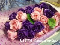 2017新款求婚香皂花束 - 27朵一生一世粉紅紫色玫瑰花束 [網上訂花 情人節 畢業 生日 結婚週年 花束]