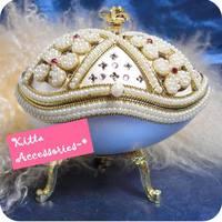 感動情人節求婚禮物 -  玫麗珍珠寶石蛋雕首飾盒音樂盒
