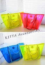 BAG1026 新款透明螢光色休閒子母袋/沙灘袋
