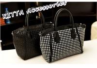 BAG1123 韓版黑白編織兩用手袋/單肩包