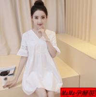 孕婦裝 孕婦時裝專門店 夏季短袖純白寬鬆鏤空花邊孕婦連衣裙