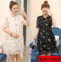 孕婦時裝專門店香港 夏季時尚碎花雪紡孕婦連衣裙