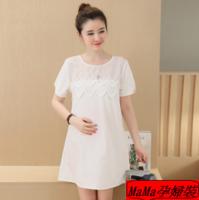 孕婦衫推薦 孕婦裝香港 孕婦online shop 時尚休閒雪紡蕾絲純白花邊連身裙哺乳裙