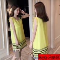 孕婦衫推薦 孕婦裝香港 孕婦online shop 時尚背心歐根紗拼色連衣裙哺乳裙