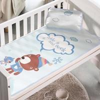 ((向日葵小屋)) 冰絲 印花 兒童 嬰兒 涼蓆 吸汗 透氣床蓆 專用嬰兒床(涼蓆+枕頭)110*60cm 僅售$98/套   105243