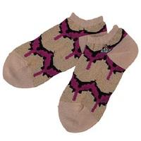 全新Vivienne Westwood卡其色圖紋Logo超短襪
