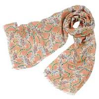 全新Vivienne Westwood日本版粉橙色花朵圖案Logo字樣頸巾