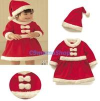 聖誕老人 秋冬 嬰兒 bb 童裝 搖粒絨 女童 公主裙 聖誕裙 聖誕帽 兩件套 $75