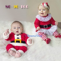 出口 歐美 聖誕老人 童裝 秋冬 嬰兒 bb 公主 王子 男童 女童 節日 長袖 上衣 長褲 兩件套 2件 套裝 套褲 $75