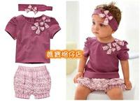 出口 bb 童裝 開倉 紫色 短袖 T 上衣 碎花 短褲 頭巾 頭帶 髮飾 公主 女童 三件 套裝 特價$685