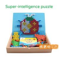 蒙特梭利 得獎設計 超重份量 純木製 木玩 蘑菇釘 插板 插珠 拼圖 積木 兒童 玩具 遊戲 $88