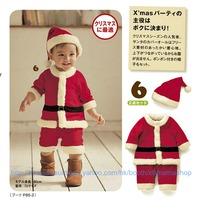 聖誕老人夾衣 聖誕夾衣 bb衫 節日 童裝 聖誕帽 兩件套 嬰兒服裝 夾衣 爬服 2件 套裝 $75