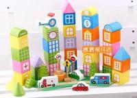 得獎設計品牌 bb益智玩具 出口德國超重份量 實木 情景交通城市積木 46塊 $148
