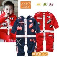 出口 童裝 棉絨 賽車手 印花 Cars 造型 bb衫 嬰兒 寶寶 爬服 長袖 連身 夾衣 95碼清貨 $60