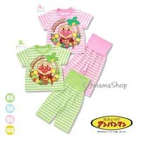 日本 Anpanman bb 童裝 面包 麵包超人 護肚 圍 椰樹 短袖 褲 內 套裝 家居 服 套 睡衣 $75