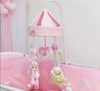 韓國嬰兒毛絨旋轉床鈴 / 新生嬰兒布藝音樂盒 / 嬰兒床頭掛搖玲玩具