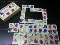 (拼圖盒)Cutieshop153 益智啟蒙積木玩具~童園木~Domino 28片水果接龍遊戲盒裝(迷你版) #141647