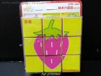 (拼圖盒)Cutieshop153 益智啟蒙積木玩具(專注力 3+)~9粒六面圖案puzzle (水果)#141706