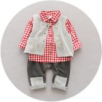 QTeeShop – 日韓童裝秋季男孩格子襯衫三件套  (紅色套) - ALA062