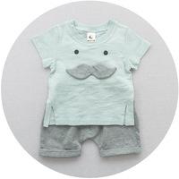 QTeeShop – 日韓童裝小鬍子針織竹節棉短袖T恤+短褲套裝 – ASA112