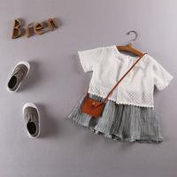 QTeeShop – 日韓童裝純白棉短袖上衣+短裙套裝 – ASA113