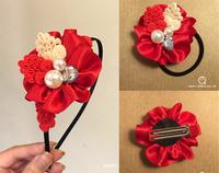 (定價)QTeeShop自家製作-中國特式水鑽珍珠大紅花髮飾-jnk024