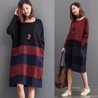 QTeeShop – 日韓女裝寬鬆大碼條紋拼接大碼連衣裙 – S28P477