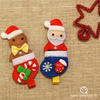 (定價)QTeeShop自家製作-100%手製髮飾聖誕老人姜餅人扣針髮夾2合1-JNK013