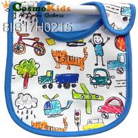 防水口水肩 - 手繪交通工具, 藍色, 4條或以上$18/條【嬰兒用品】