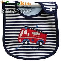 防水口水肩 - 消防車, 條紋藍色, 4條或以上$15/條【嬰兒用品】