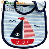 防水口水肩 - 帆船與海鷗, 藍色, 4條或以上$18/條【嬰兒用品】