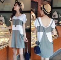 韓國孕婦時裝 假2件式棉孕婦T裙 孕婦短裙 Me039