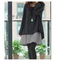 大碼衫 孕婦裝 秋冬寛鬆假兩件設計大碼衫 孕婦裙