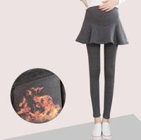2017秋冬孕婦legging   加絨加厚假兩件式 孕婦打底褲