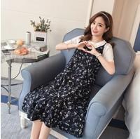 孕婦裝 online shop 孕婦時裝 大肚婆衫 碎花藍色套裝雪紡孕婦裙 兩件套裝