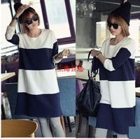韓國孕婦裝 孕婦秋冬裝 長款藍白孕婦衛衣裙 孕婦裙